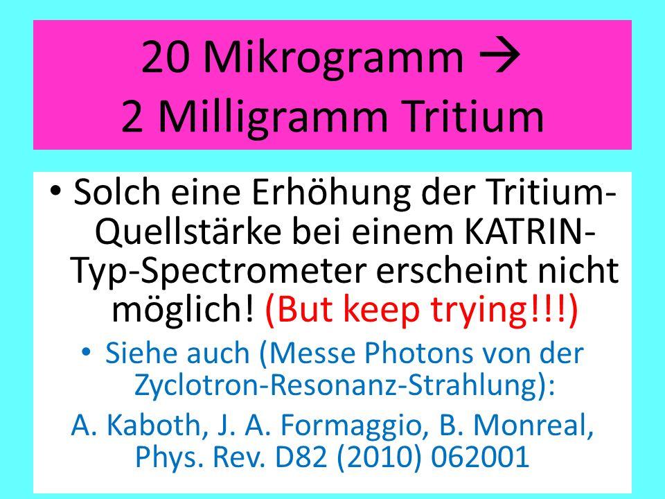 20 Mikrogramm  2 Milligramm Tritium Solch eine Erhöhung der Tritium- Quellstärke bei einem KATRIN- Typ-Spectrometer erscheint nicht möglich! (But kee