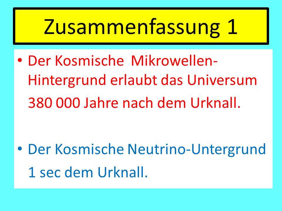 Zusammenfassung 1 Der Kosmische Mikrowellen- Hintergrund erlaubt das Universum 380 000 Jahre nach dem Urknall. Der Kosmische Neutrino-Untergrund 1 sec
