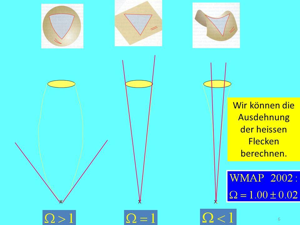 6 Curvature of the Univers flat xxx Wir können die Ausdehnung der heissen Flecken berechnen.
