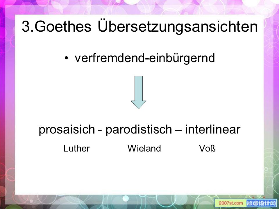 3.Goethes Übersetzungsansichten verfremdend-einbürgernd prosaisich - parodistisch – interlinear Luther Wieland Voß