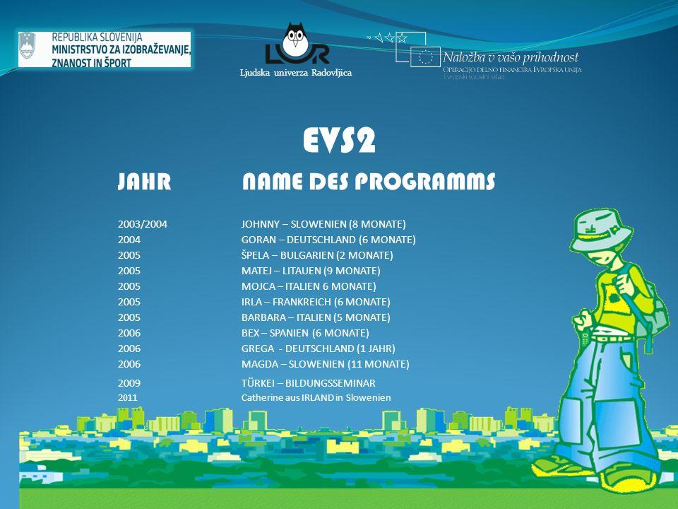 17 Ljudska univerza Radovljica EVS2 JAHR NAME DES PROGRAMMS 2003/2004JOHNNY – SLOWENIEN (8 MONATE) 2004GORAN – DEUTSCHLAND (6 MONATE) 2005ŠPELA – BULG