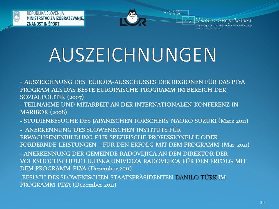 - AUSZEICHNUNG DES EUROPA-AUSSCHUSSES DER REGIONEN FÜR DAS PLYA PROGRAM ALS DAS BESTE EUROPÄISCHE PROGRAMM IM BEREICH DER SOZIALPOLITIK (2007) - TEILNAHME UND MITARBEIT AN DER INTERNATIONALEN KONFERENZ IN MARIBOR (2008) - STUDIENBESUCHE DES JAPANISCHEN FORSCHERS NAOKO SUZUKI (März 2011) - ANERKENNUNG DES SLOWENISCHEN INSTITUTS FÜR ERWACHSENENBILDUNG F'UR SPEZIFISCHE PROFESSIONELLE ODER FÖRDERNDE LEISTUNGEN – FÜR DEN ERFOLG MIT DEM PROGRAMM (Mai 2011) - ANERKENNUNG DER GEMEINDE RADOVLJICA AN DEN DIREKTOR DER VOLKSHOCHSCHULE LJUDSKA UNIVERZA RADOVLJICA FÜR DEN ERFOLG MIT DEM PROGRAMM PLYA (Dezember 2011) DANILO TÜRK IM - BESUCH DES SLOWENISCHEN STAATSPRÄSIDENTEN DANILO TÜRK IM PROGRAMM PLYA (Dezember 2011) 24