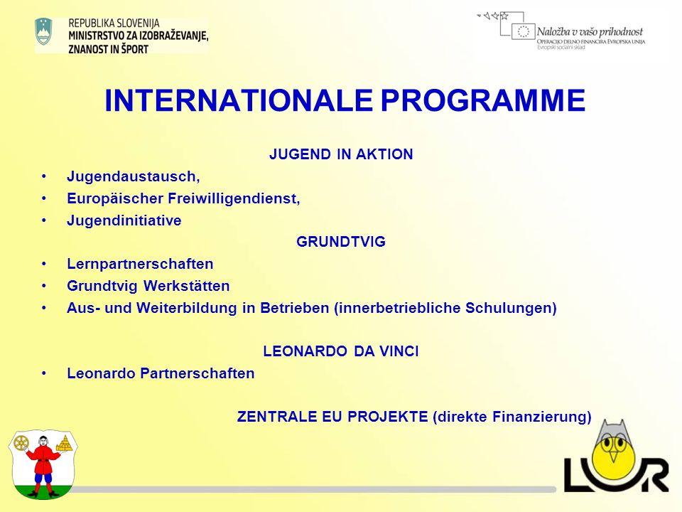 INTERNATIONALE PROGRAMME JUGEND IN AKTION Jugendaustausch, Europäischer Freiwilligendienst, Jugendinitiative GRUNDTVIG Lernpartnerschaften Grundtvig Werkstätten Aus- und Weiterbildung in Betrieben (innerbetriebliche Schulungen) LEONARDO DA VINCI Leonardo Partnerschaften ZENTRALE EU PROJEKTE (direkte Finanzierung)