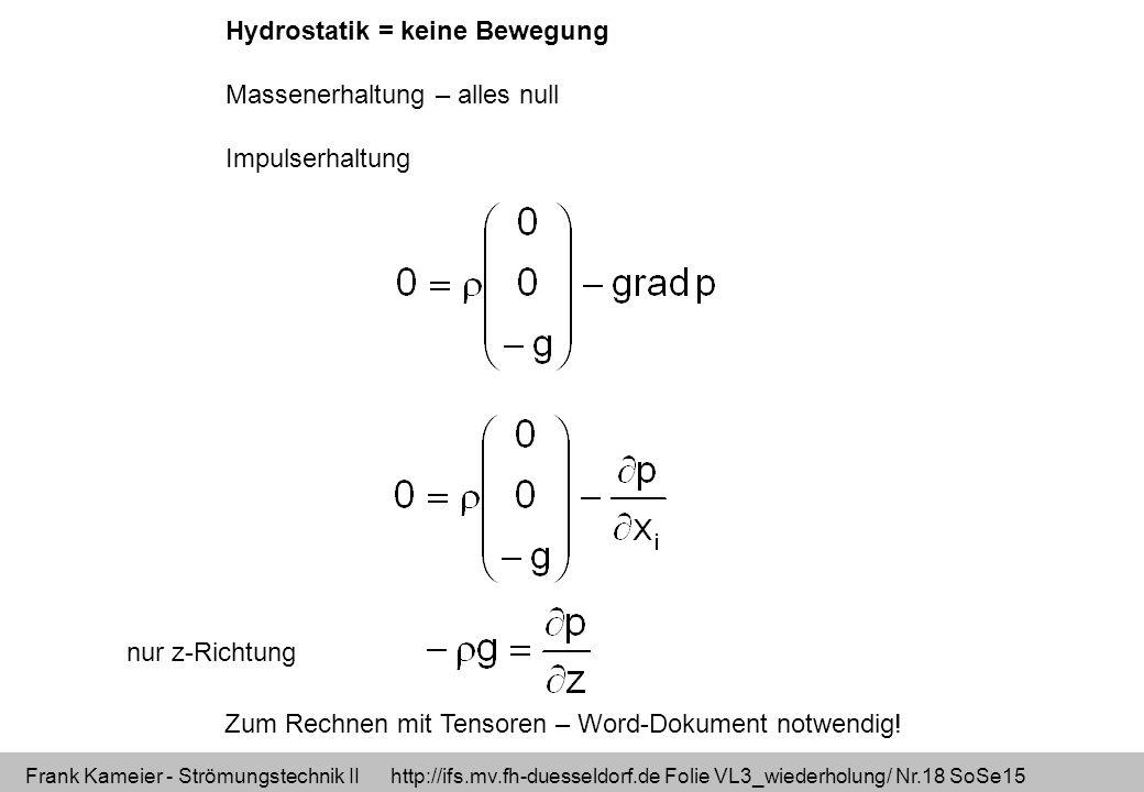 Frank Kameier - Strömungstechnik II http://ifs.mv.fh-duesseldorf.de Folie VL3_wiederholung/ Nr.18 SoSe15 Hydrostatik = keine Bewegung Massenerhaltung – alles null Impulserhaltung Zum Rechnen mit Tensoren – Word-Dokument notwendig.