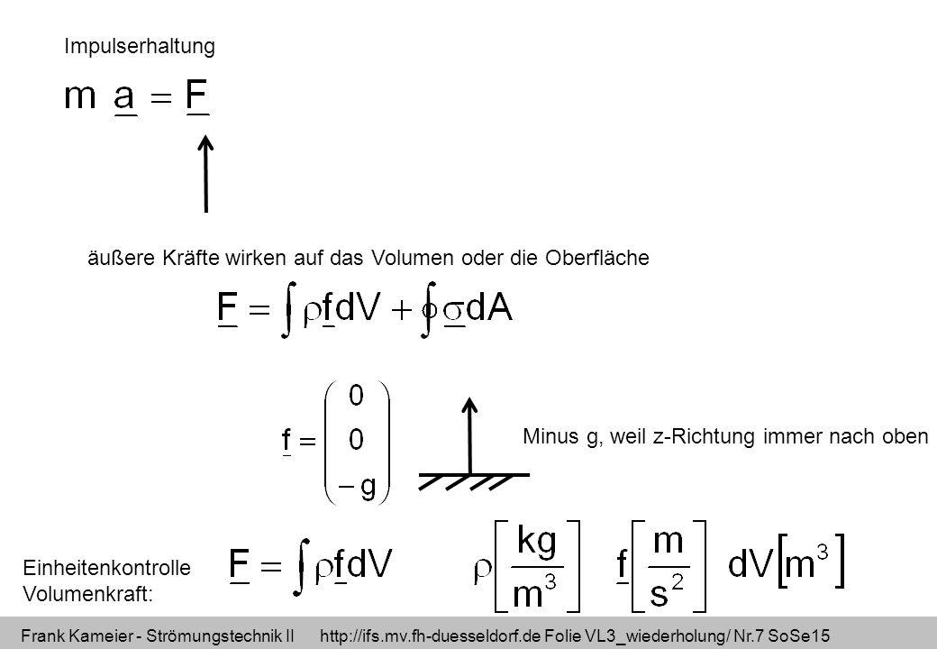 Frank Kameier - Strömungstechnik II http://ifs.mv.fh-duesseldorf.de Folie VL3_wiederholung/ Nr.8 SoSe15 Impulserhaltung Einheitenkontrolle: Welche Einheit hat F?