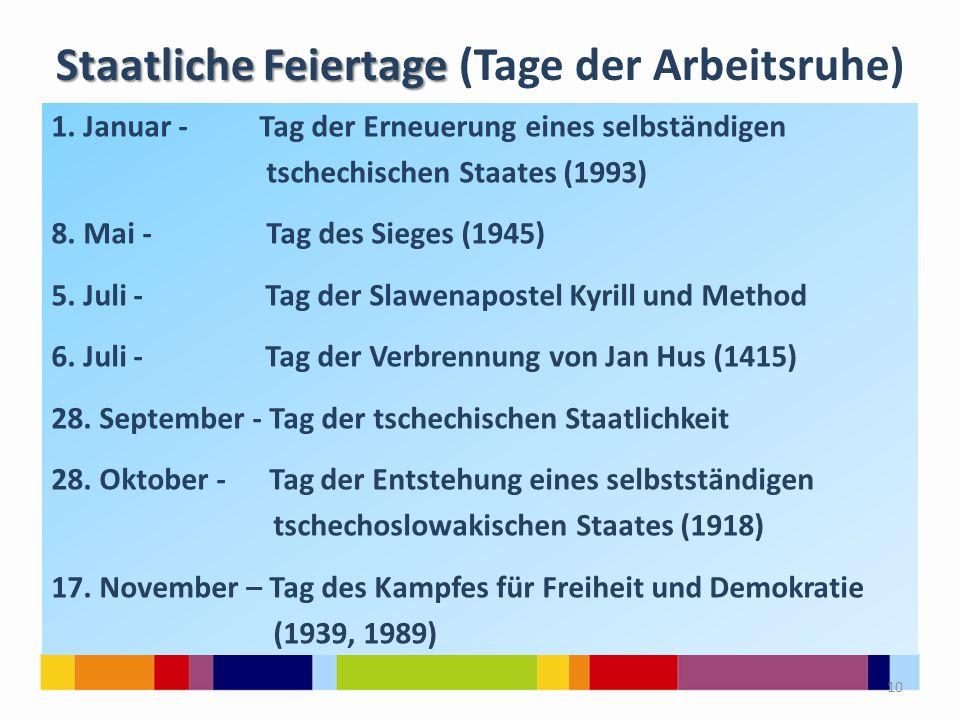 Staatliche Feiertage Staatliche Feiertage (Tage der Arbeitsruhe) 1. Januar - Tag der Erneuerung eines selbständigen tschechischen Staates (1993) 8. Ma