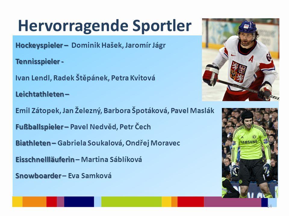 Hervorragendе Sportler Hockeyspieler – Hockeyspieler – Dominik Hašek, Jaromír Jágr Tennisspieler - Tennisspieler - Ivan Lendl, Radek Štěpánek, Petra K