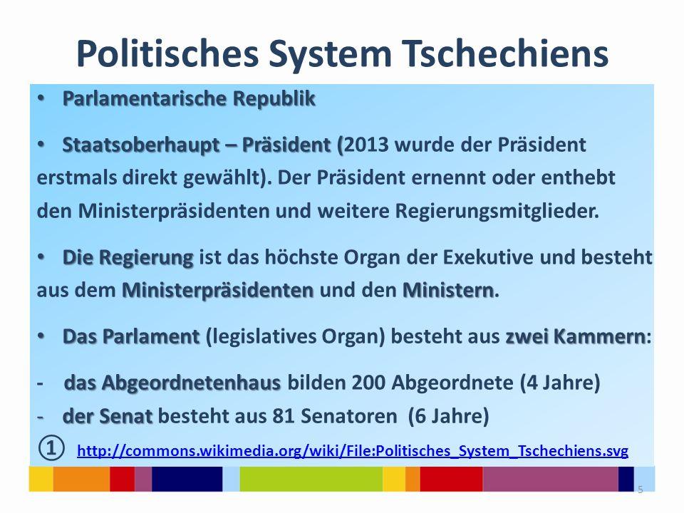 Politisches System Tschechiens Parlamentarische Republik Parlamentarische Republik Staatsoberhaupt – Präsident ( Staatsoberhaupt – Präsident (2013 wur