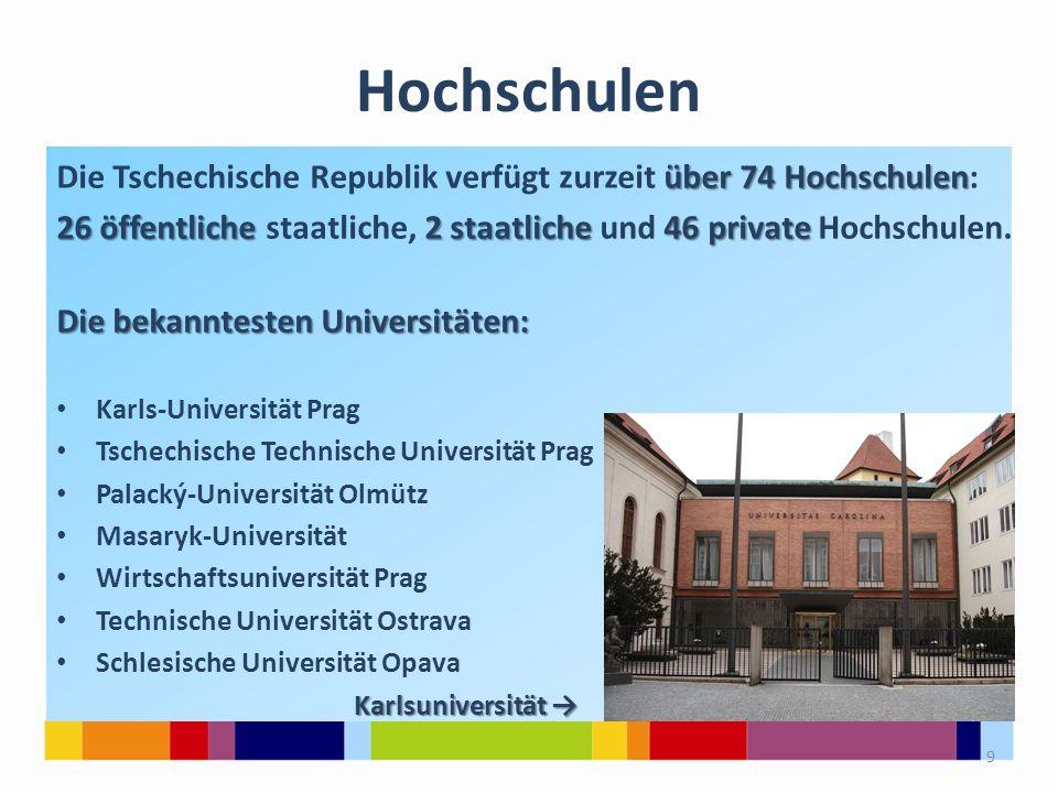 Hochschulen über 74 Hochschulen Die Tschechische Republik verfügt zurzeit über 74 Hochschulen: 26 öffentliche 2 staatliche 46 private 26 öffentliche s