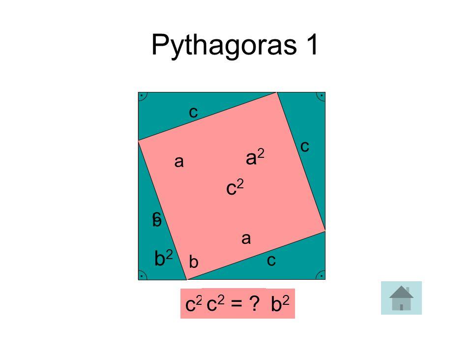 c 2 = a 2 + b 2. Pythagoras 1 c2c2 c 2 = ?... c c c c a a b b b2b2 a2a2
