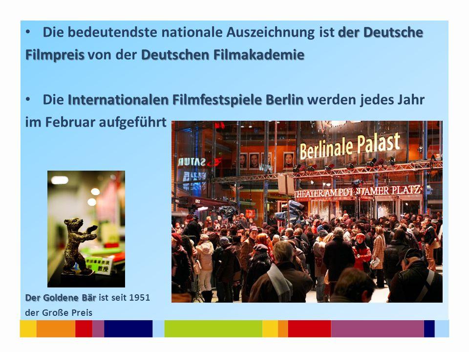 der Deutsche Die bedeutendste nationale Auszeichnung ist der Deutsche Filmpreis Deutschen Filmakademie Filmpreis von der Deutschen Filmakademie Intern