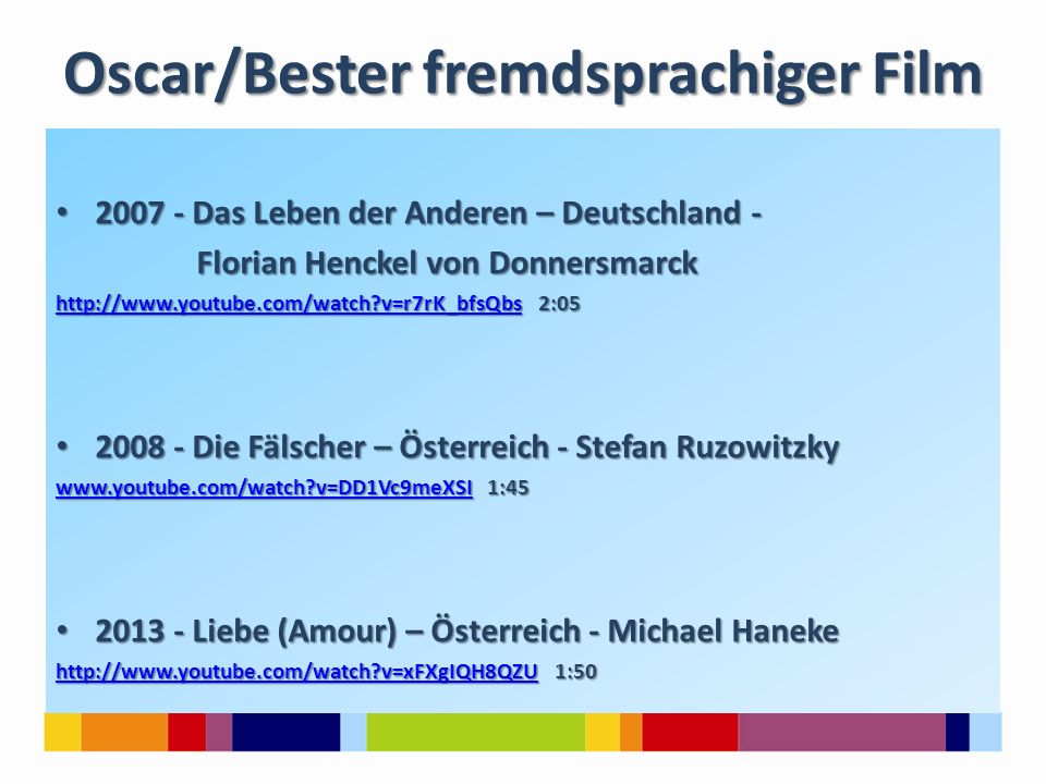 Oscar/Bester fremdsprachiger Film 2007 - Das Leben der Anderen – Deutschland - 2007 - Das Leben der Anderen – Deutschland - Florian Henckel von Donner