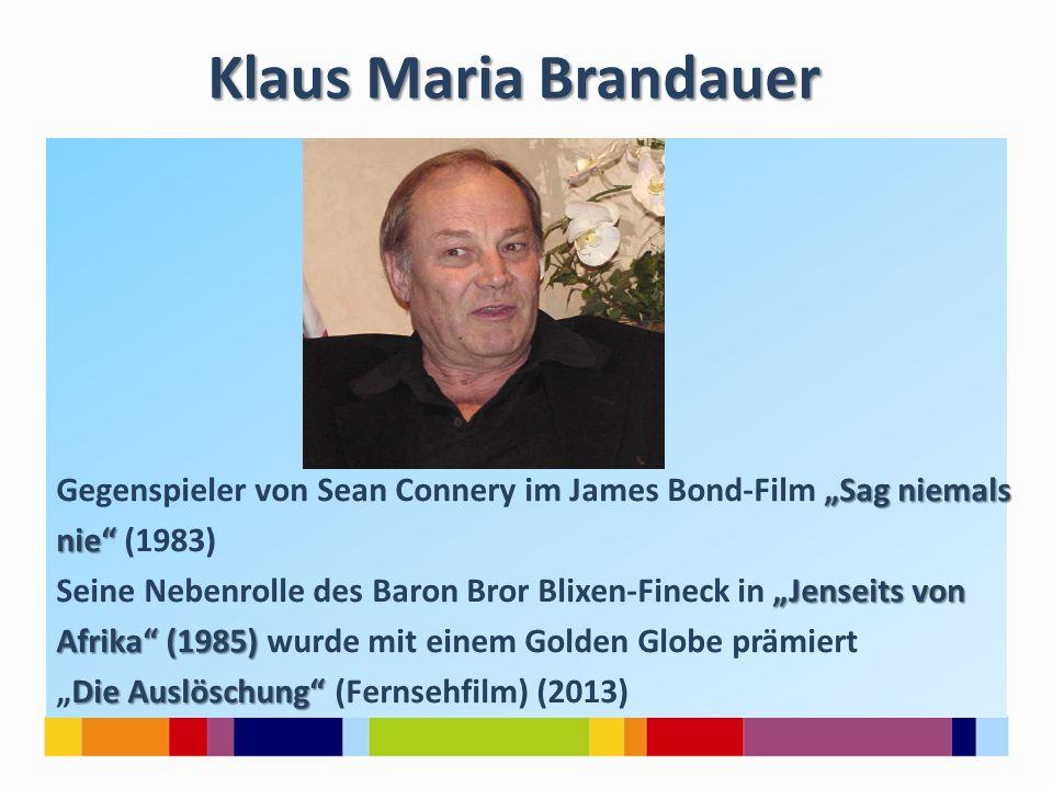 """""""Sag niemals Gegenspieler von Sean Connery im James Bond-Film """"Sag niemals nie"""" nie"""" (1983) """"Jenseits von Seine Nebenrolle des Baron Bror Blixen-Finec"""