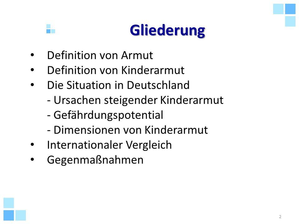 Gliederung Definition von Armut Definition von Kinderarmut Die Situation in Deutschland - Ursachen steigender Kinderarmut - Gefährdungspotential - Dim