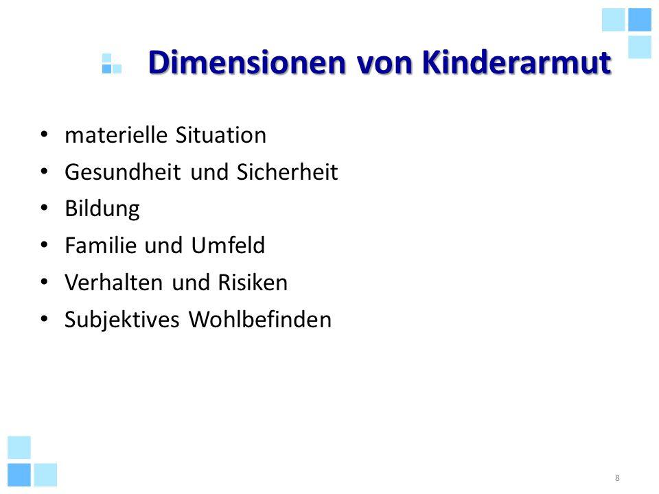 Dimensionen von Kinderarmut materielle Situation Gesundheit und Sicherheit Bildung Familie und Umfeld Verhalten und Risiken Subjektives Wohlbefinden 8