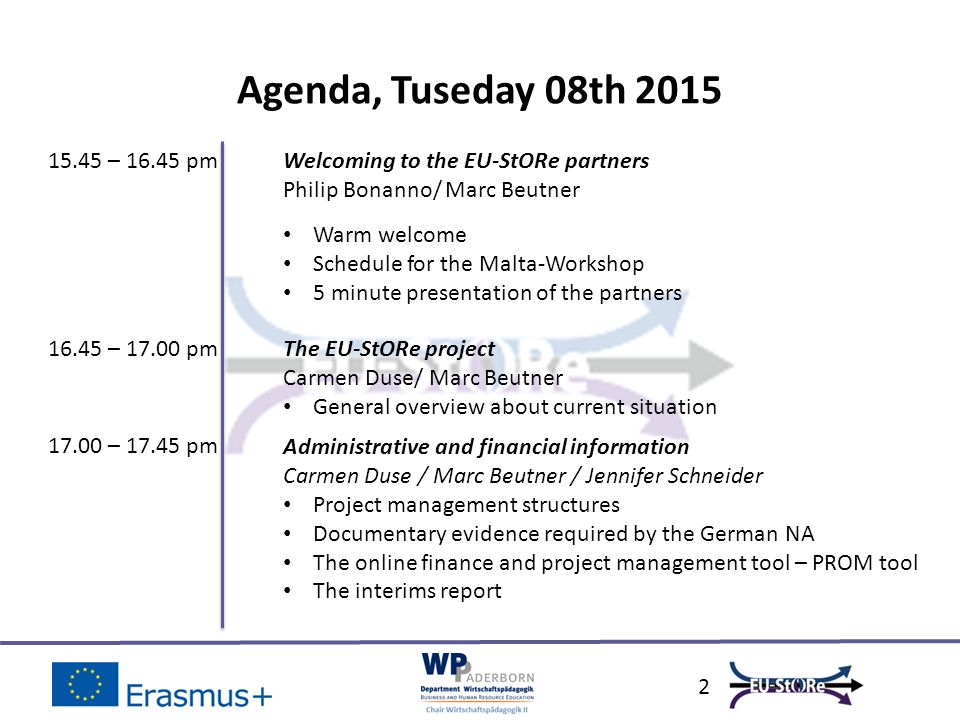 2 Agenda, Tuseday 08th 2015 15.45 – 16.45 pm 16.45 – 17.00 pm Welcoming to the EU-StORe partners Philip Bonanno/ Marc Beutner Warm welcome Schedule fo