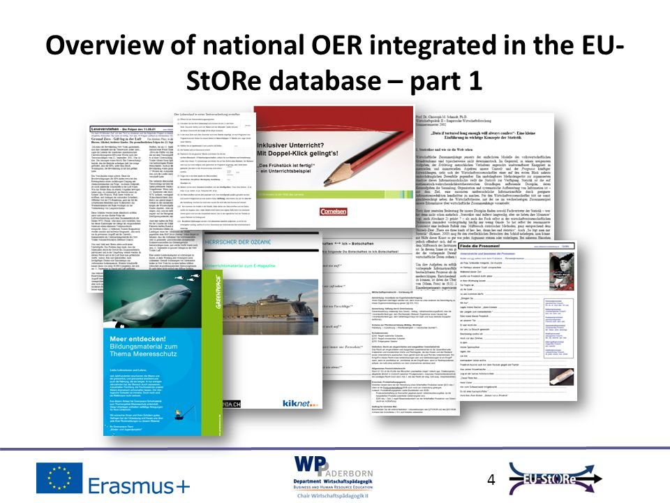5 Overview of national OER integrated in the EU- StORe database – part 2 Small cutout of the rated OERLink Saved as pdf.