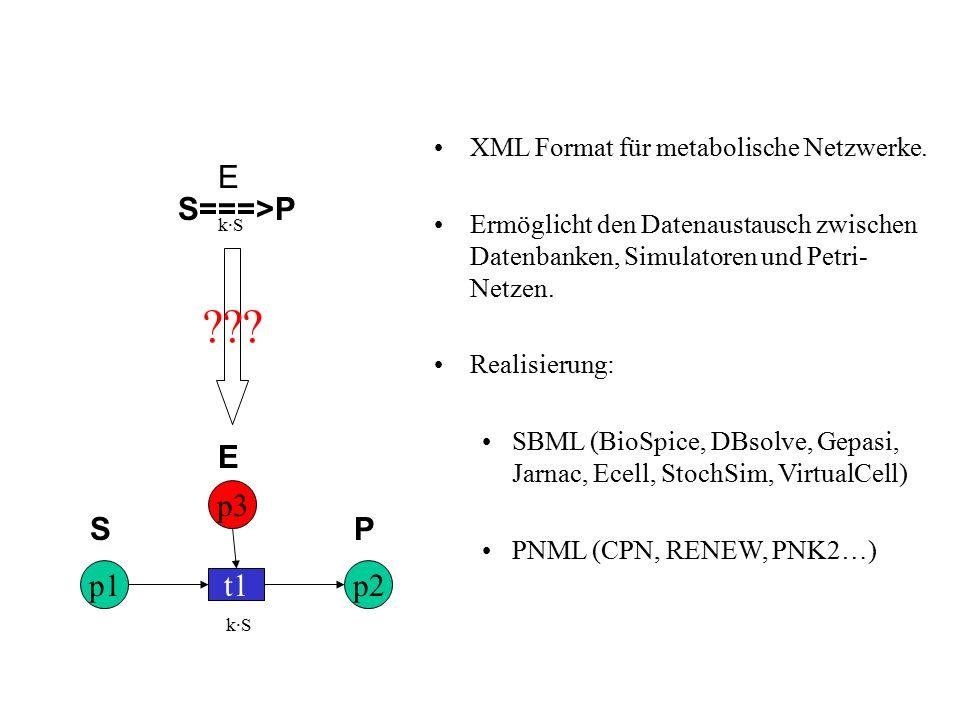E p1p2 t1 SP . XML Format für metabolische Netzwerke.