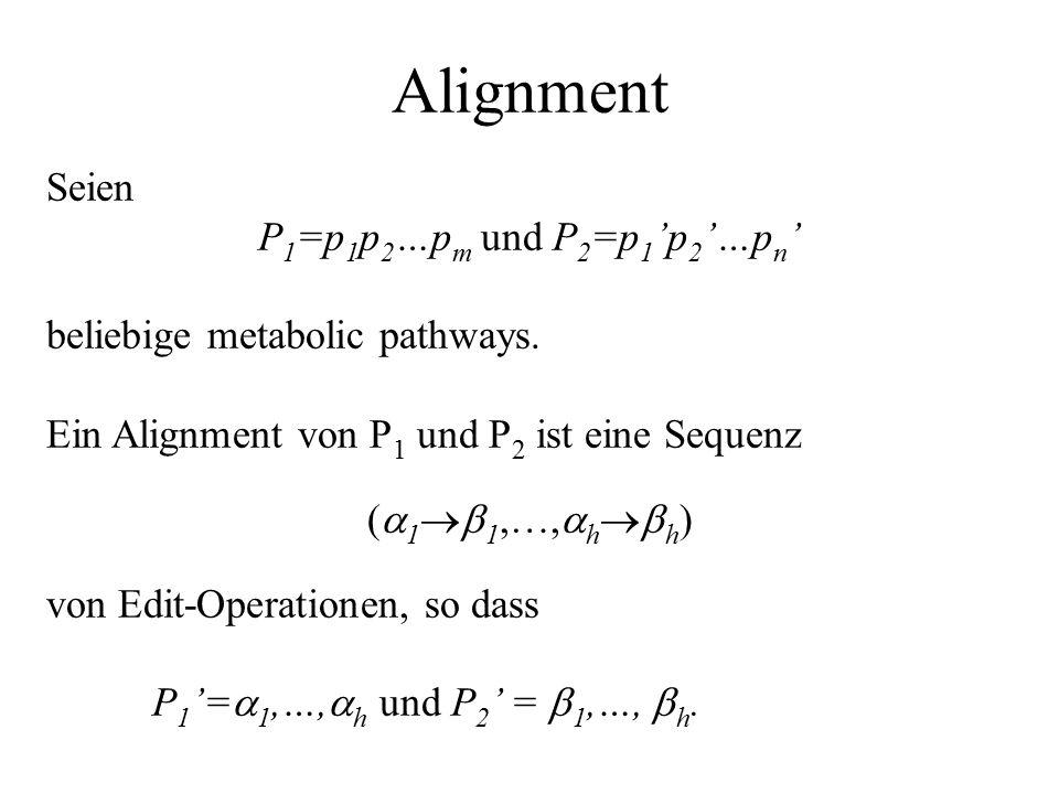 Alignment Seien P 1 =p 1 p 2 …p m und P 2 =p 1 'p 2 '…p n ' beliebige metabolic pathways.