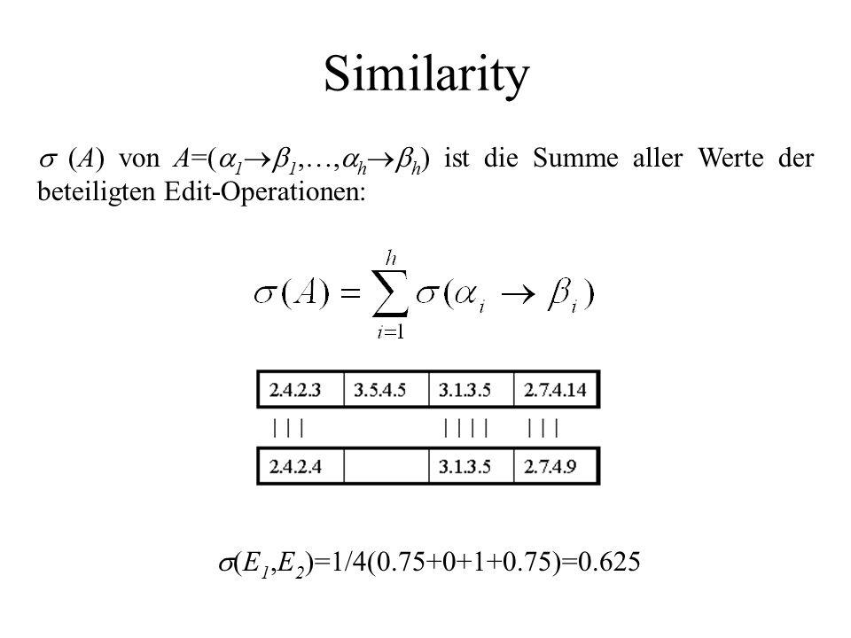 Similarity  (A) von A=(  1  1,…,  h  h ) ist die Summe aller Werte der beteiligten Edit-Operationen:  (E 1,E 2 )=1/4(0.75+0+1+0.75)=0.625