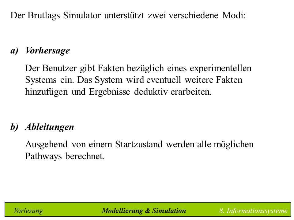 Der Brutlags Simulator unterstützt zwei verschiedene Modi: a)Vorhersage Der Benutzer gibt Fakten bezüglich eines experimentellen Systems ein.