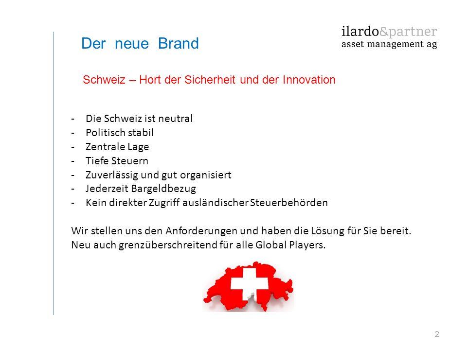 2 Der neue Brand -Die Schweiz ist neutral -Politisch stabil -Zentrale Lage -Tiefe Steuern -Zuverlässig und gut organisiert -Jederzeit Bargeldbezug -Ke