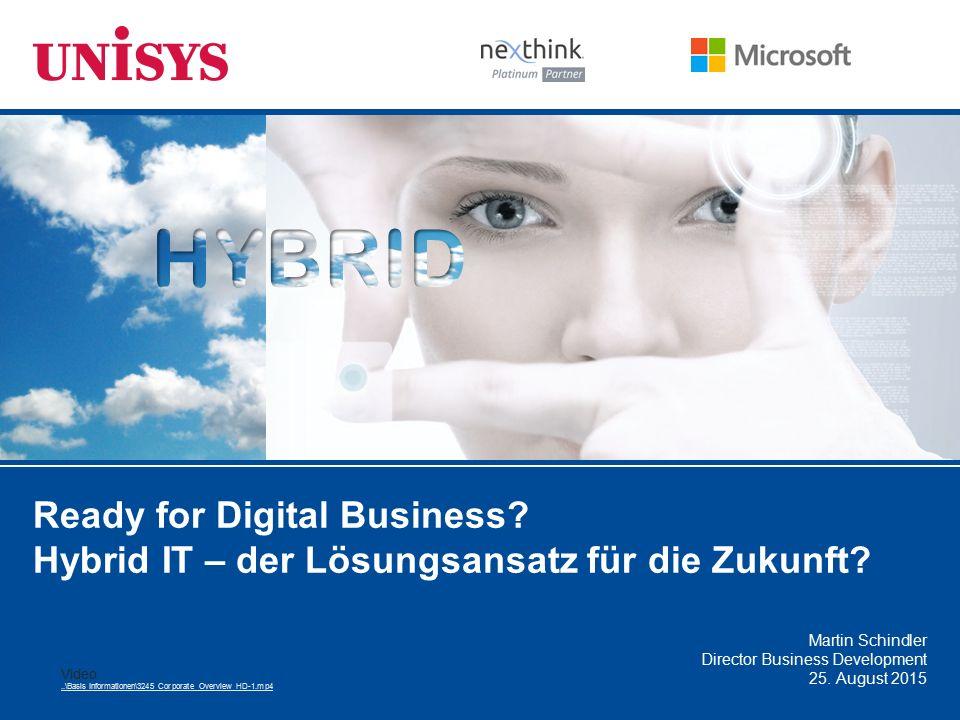 Ready for Digital Business? Hybrid IT – der Lösungsansatz für die Zukunft? Martin Schindler Director Business Development 25. August 2015 Video..\Basi