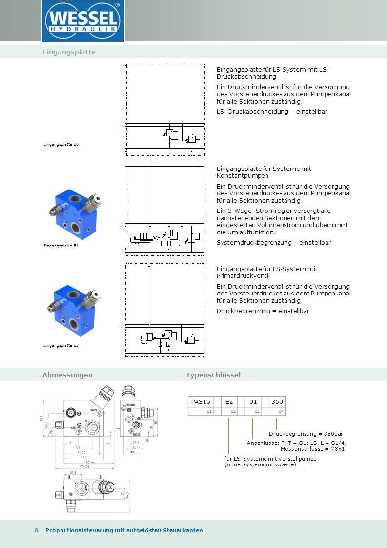 8 Proportionalsteuerung mit aufgelösten Steuerkanten Eingangsplatte Abmessungen Typenschlüssel Eingangsplatte für LS-System mit LS- Druckabschneidung Ein Druckminderventil ist für die Versorgung des Vorsteuerdruckes aus dem Pumpenkanal für alle Sektionen zuständig.