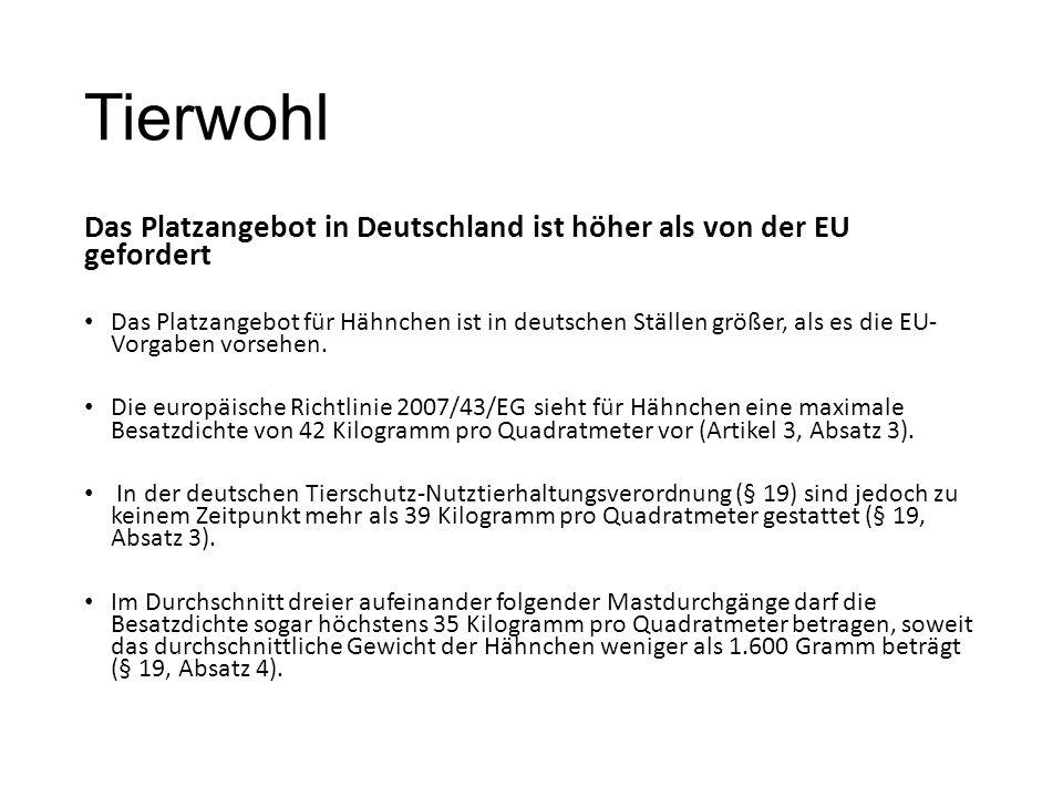 Tierwohl Das Platzangebot in Deutschland ist höher als von der EU gefordert Das Platzangebot für Hähnchen ist in deutschen Ställen größer, als es die EU- Vorgaben vorsehen.