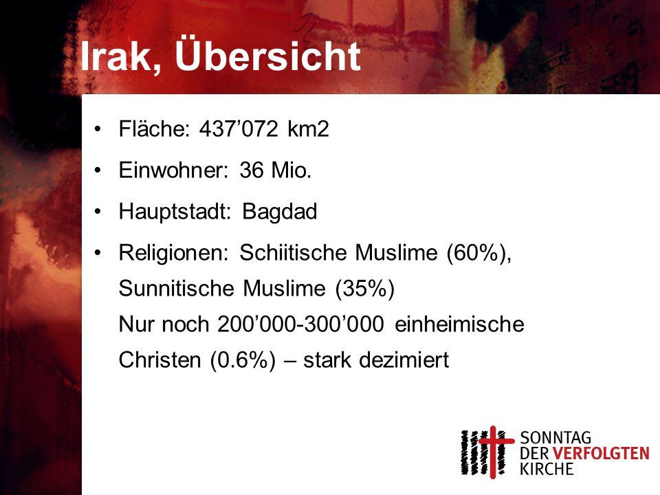 Irak, Übersicht Fläche: 437'072 km2 Einwohner: 36 Mio.