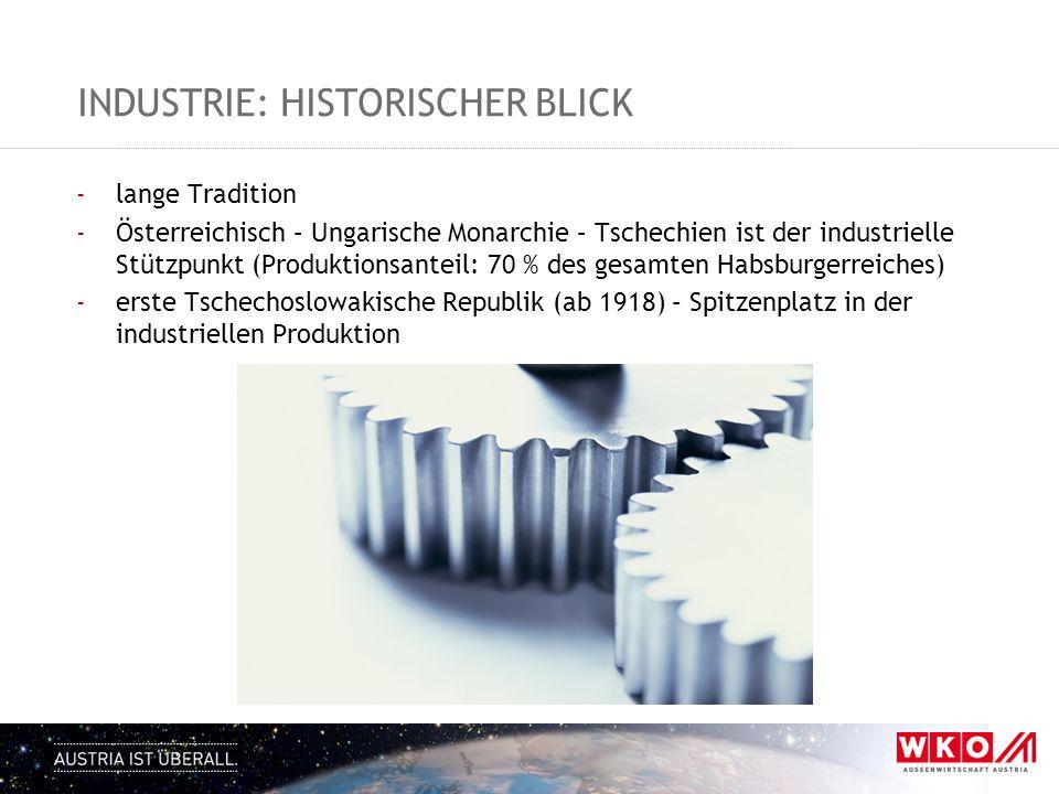 INDUSTRIE: HISTORISCHER BLICK -lange Tradition -Österreichisch – Ungarische Monarchie – Tschechien ist der industrielle Stützpunkt (Produktionsanteil: