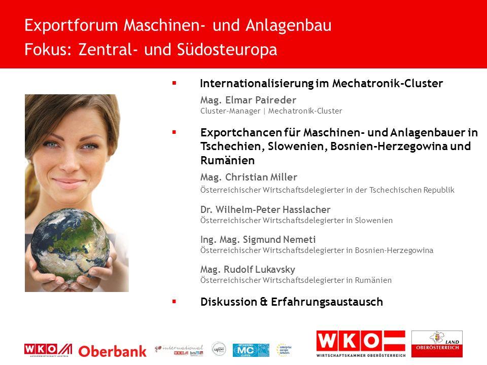 Internationalisierung im Mechatronik-Cluster OÖ Exporttag 2015 Die Welt: Mein Markt.