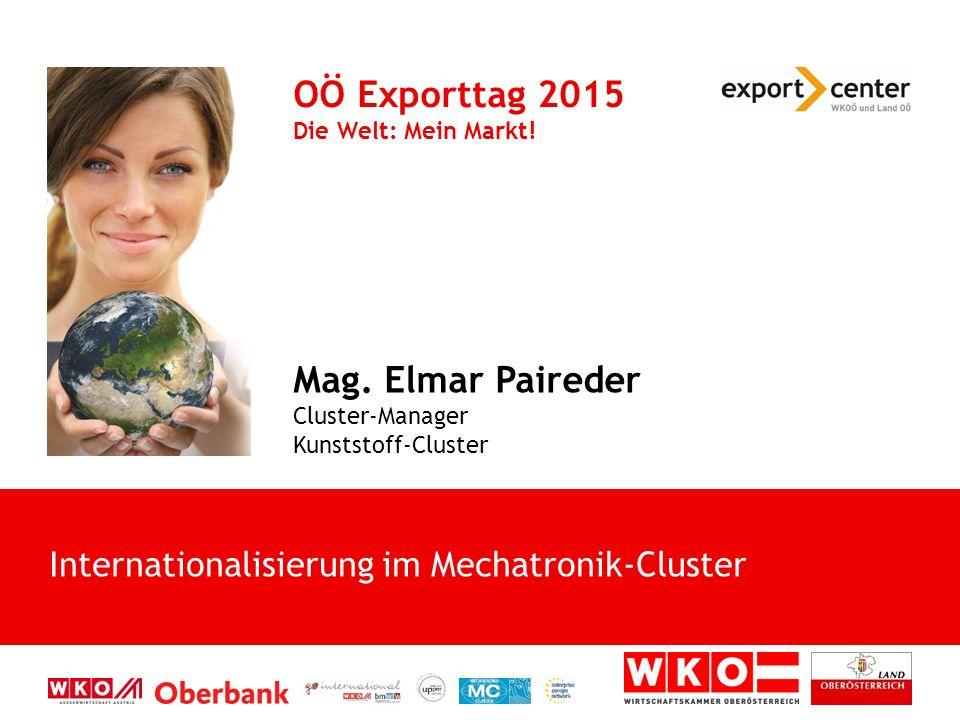 Internationalisierung im Mechatronik-Cluster OÖ Exporttag 2015 Die Welt: Mein Markt! Mag. Elmar Paireder Cluster-Manager Kunststoff-Cluster