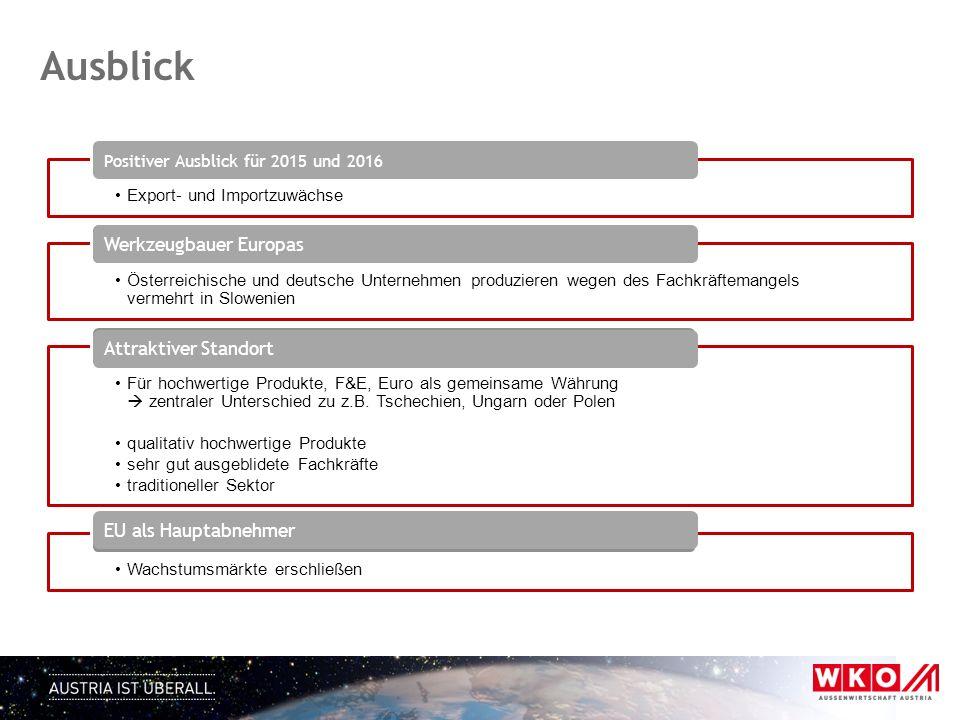 Export- und Importzuwächse Positiver Ausblick für 2015 und 2016 Österreichische und deutsche Unternehmen produzieren wegen des Fachkräftemangels verme