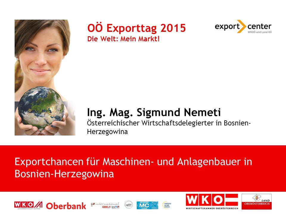 Ing. Mag. Sigmund Nemeti Österreichischer Wirtschaftsdelegierter in Bosnien- Herzegowina OÖ Exporttag 2015 Die Welt: Mein Markt! Exportchancen für Mas