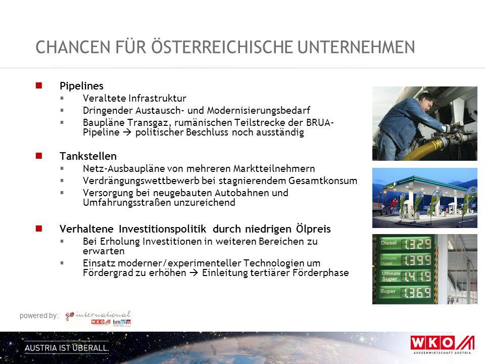 powered by: CHANCEN FÜR ÖSTERREICHISCHE UNTERNEHMEN Pipelines  Veraltete Infrastruktur  Dringender Austausch- und Modernisierungsbedarf  Baupläne T