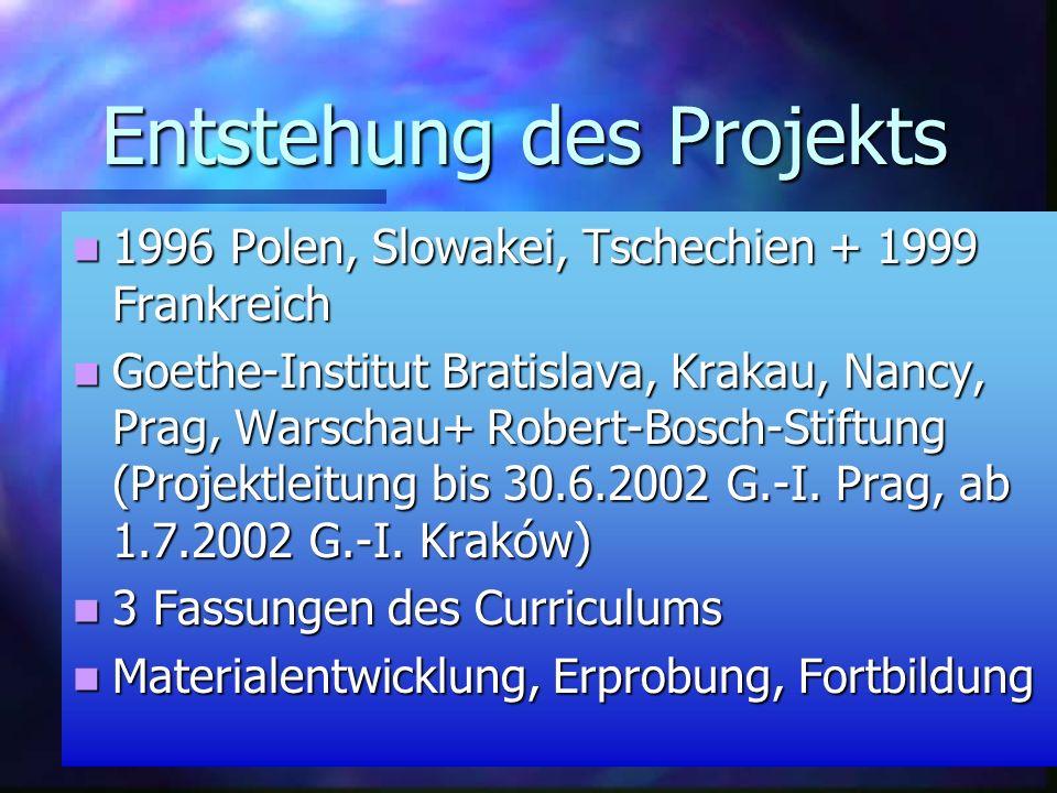 Entstehung des Projekts 1996 Polen, Slowakei, Tschechien + 1999 Frankreich 1996 Polen, Slowakei, Tschechien + 1999 Frankreich Goethe-Institut Bratislava, Krakau, Nancy, Prag, Warschau+ Robert-Bosch-Stiftung (Projektleitung bis 30.6.2002 G.-I.