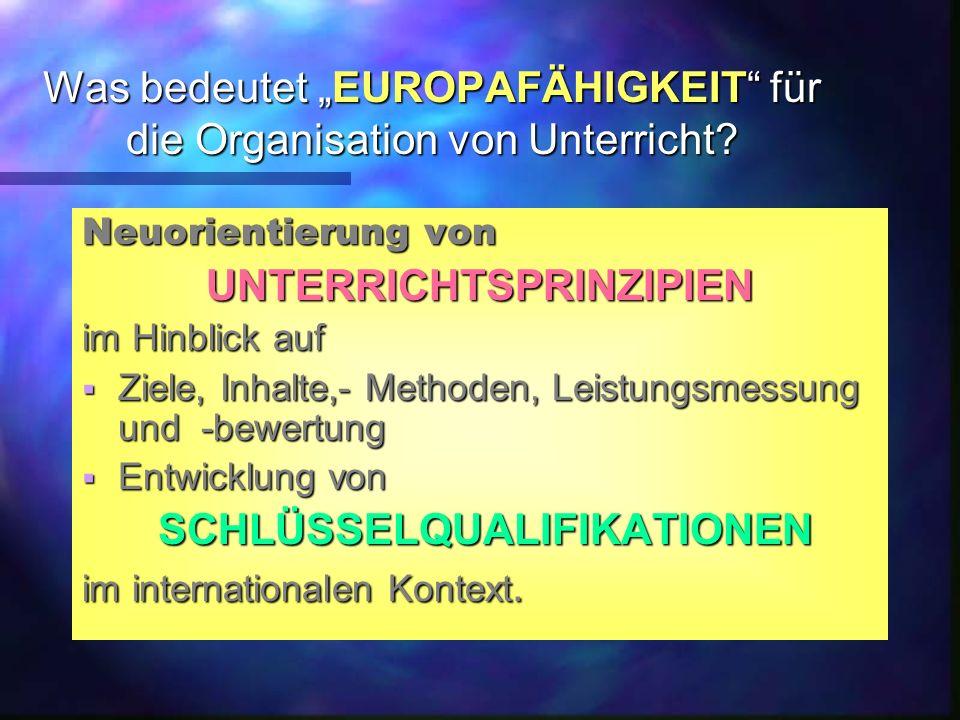 """Was bedeutet """"EUROPAFÄHIGKEIT für die Organisation von Unterricht."""