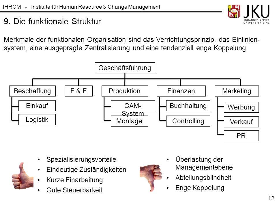 IHRCM - Institute für Human Resource & Change Management Merkmale der funktionalen Organisation sind das Verrichtungsprinzip, das Einlinien- system, e