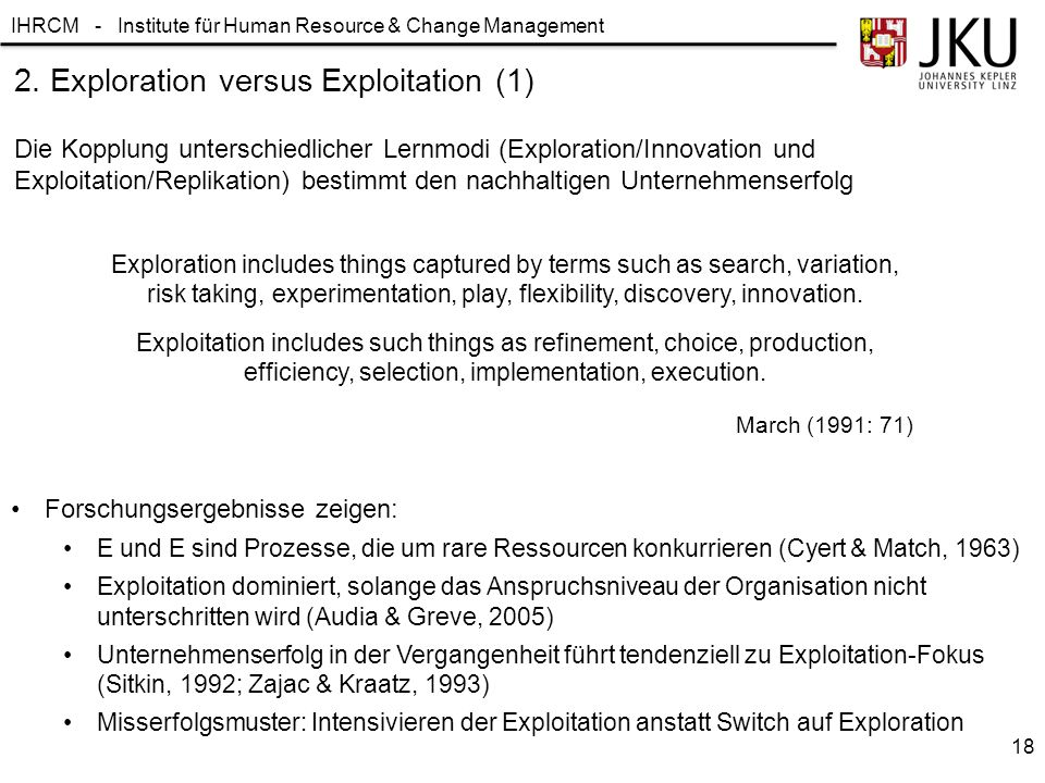 IHRCM - Institute für Human Resource & Change Management 2. Exploration versus Exploitation (1) Die Kopplung unterschiedlicher Lernmodi (Exploration/I