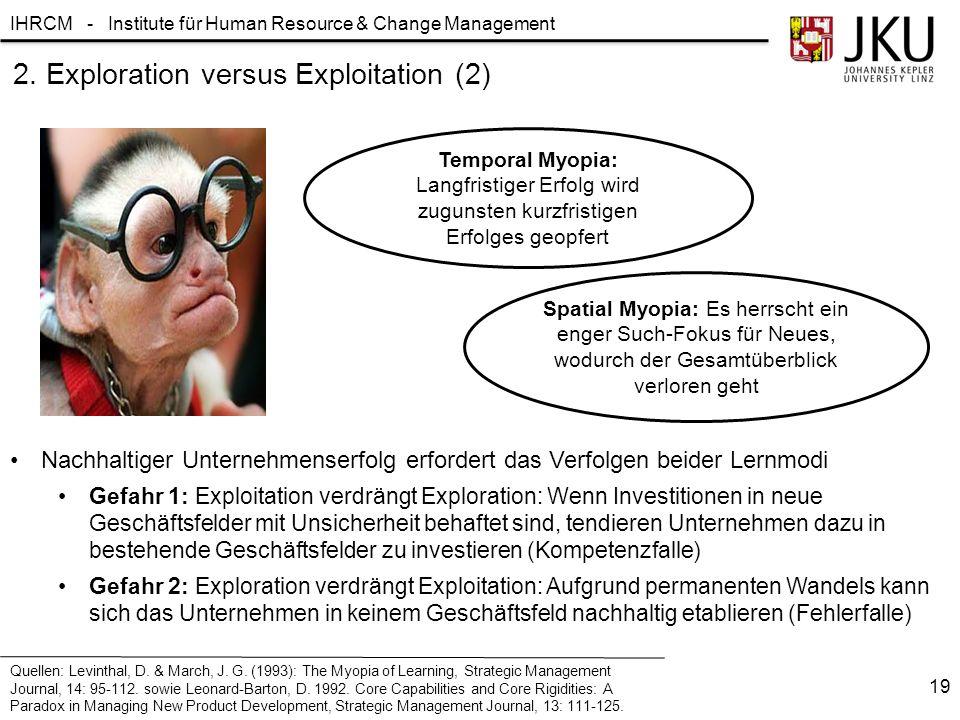 IHRCM - Institute für Human Resource & Change Management 2. Exploration versus Exploitation (2) Nachhaltiger Unternehmenserfolg erfordert das Verfolge