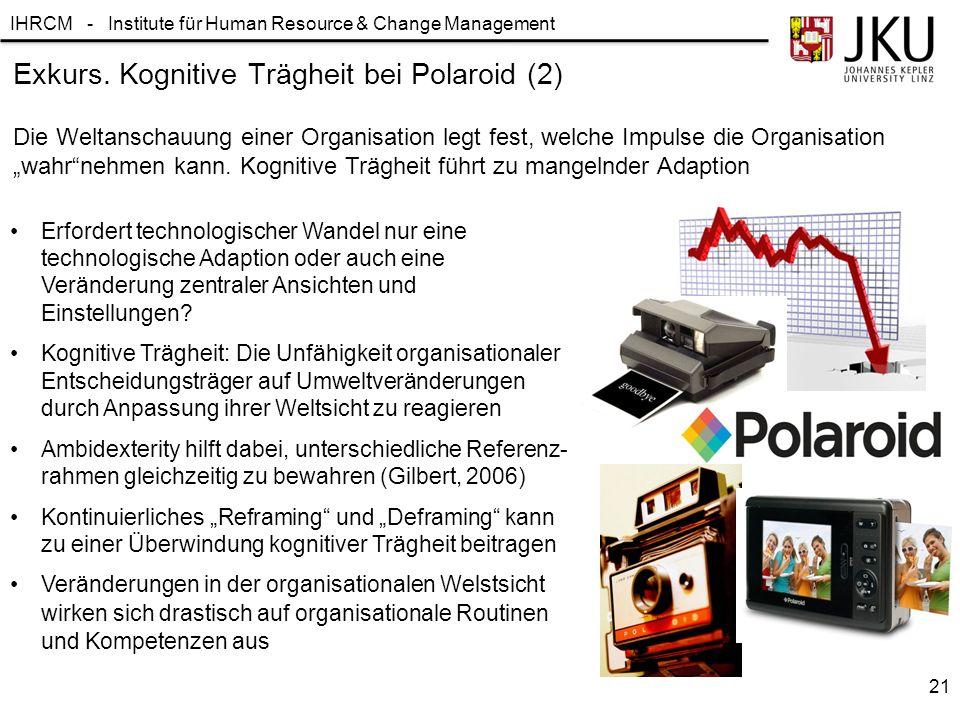IHRCM - Institute für Human Resource & Change Management Exkurs. Kognitive Trägheit bei Polaroid (2) Die Weltanschauung einer Organisation legt fest,