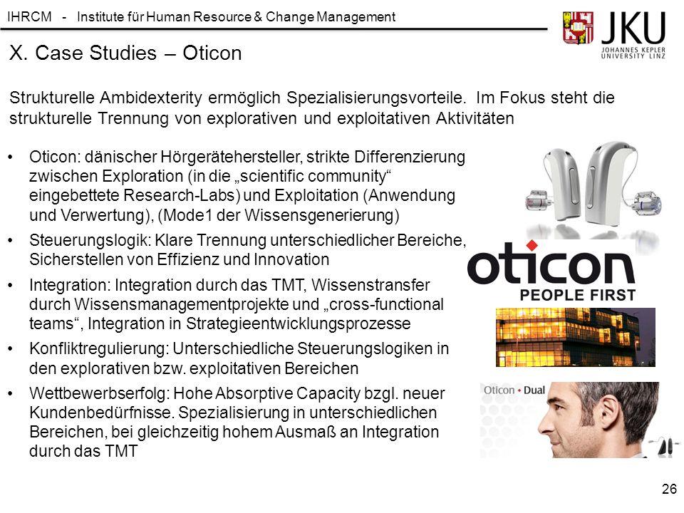 IHRCM - Institute für Human Resource & Change Management X. Case Studies – Oticon Strukturelle Ambidexterity ermöglich Spezialisierungsvorteile. Im Fo