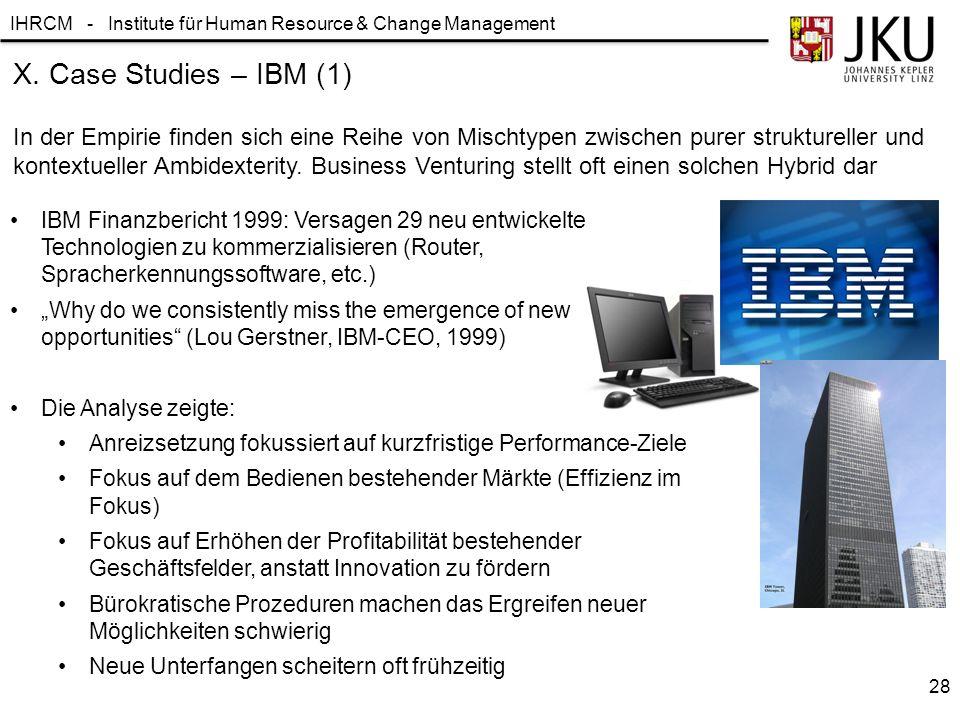 IHRCM - Institute für Human Resource & Change Management X. Case Studies – IBM (1) In der Empirie finden sich eine Reihe von Mischtypen zwischen purer