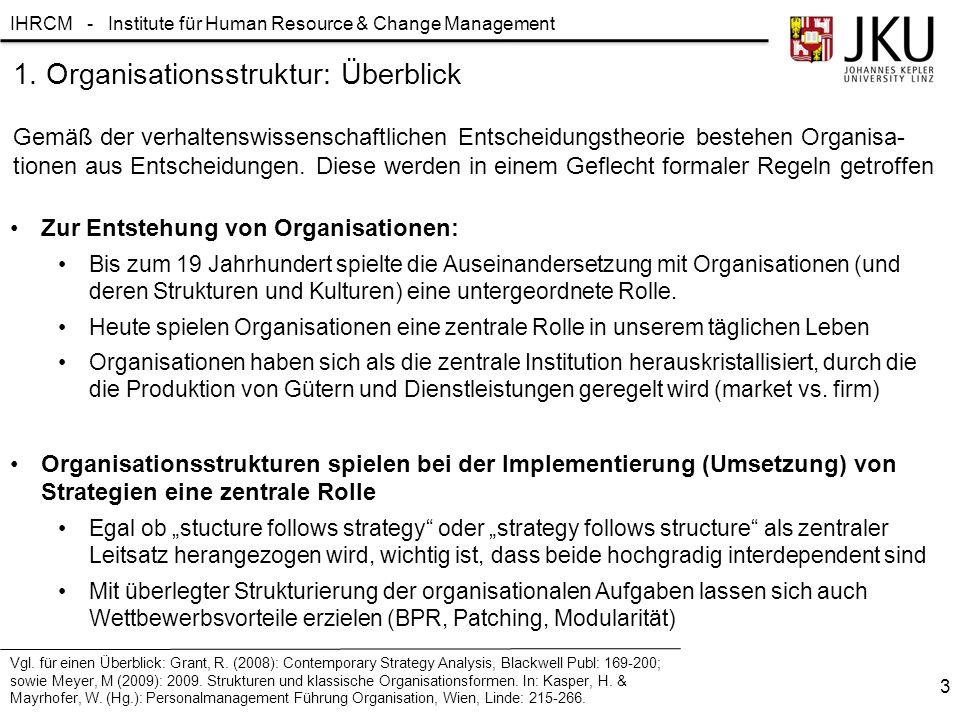 IHRCM - Institute für Human Resource & Change Management Zur Entstehung von Organisationen: Bis zum 19 Jahrhundert spielte die Auseinandersetzung mit