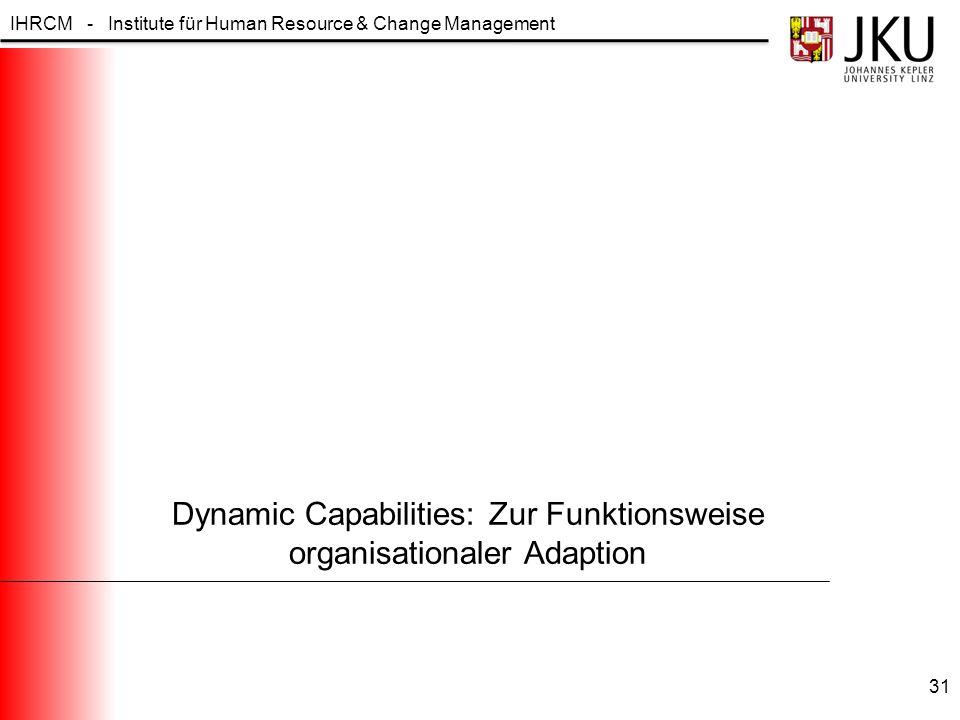 IHRCM - Institute für Human Resource & Change Management Dynamic Capabilities: Zur Funktionsweise organisationaler Adaption 31