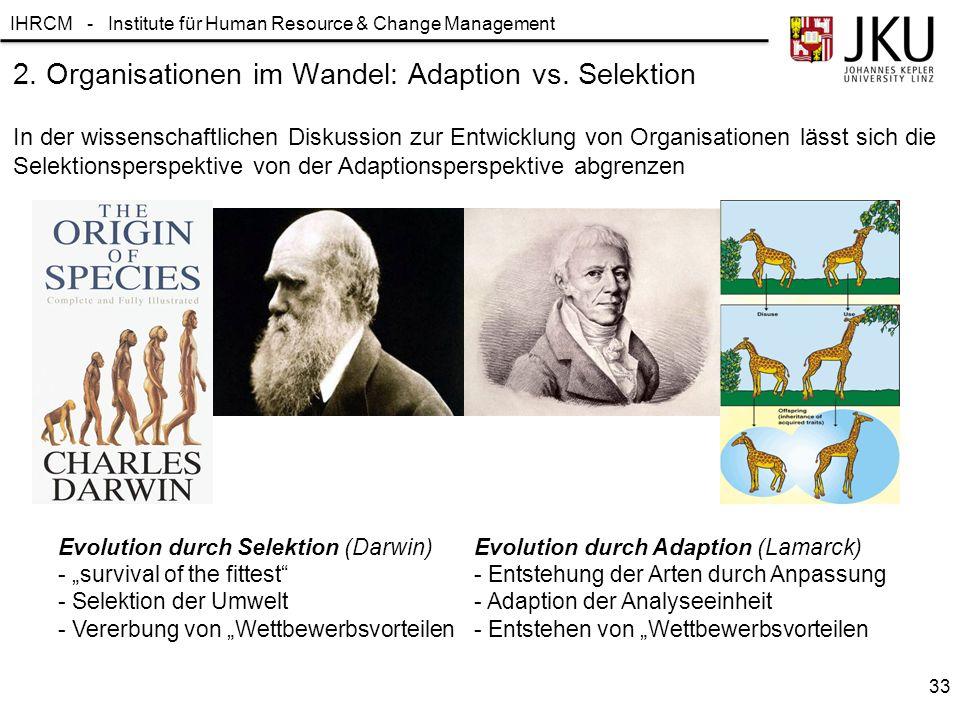 IHRCM - Institute für Human Resource & Change Management 2. Organisationen im Wandel: Adaption vs. Selektion In der wissenschaftlichen Diskussion zur