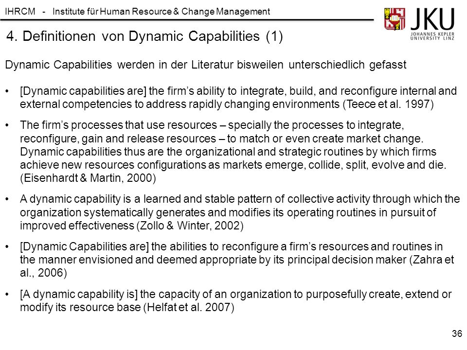 IHRCM - Institute für Human Resource & Change Management 4. Definitionen von Dynamic Capabilities (1) Dynamic Capabilities werden in der Literatur bis