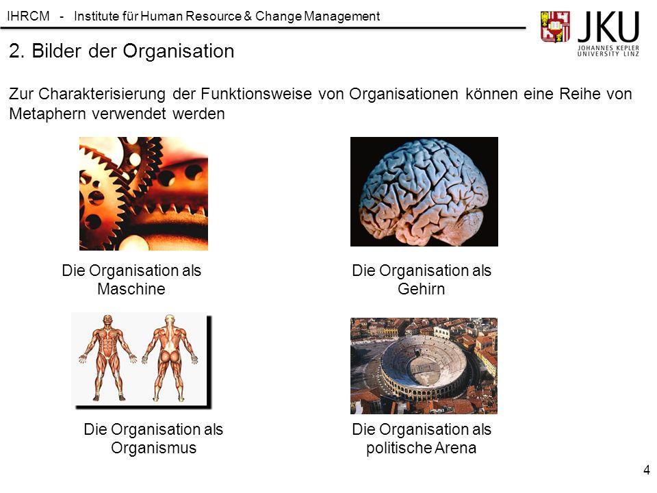 IHRCM - Institute für Human Resource & Change Management 2. Bilder der Organisation 4 Zur Charakterisierung der Funktionsweise von Organisationen könn