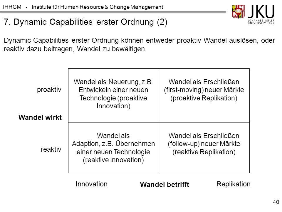 IHRCM - Institute für Human Resource & Change Management 7. Dynamic Capabilities erster Ordnung (2) Dynamic Capabilities erster Ordnung können entwede